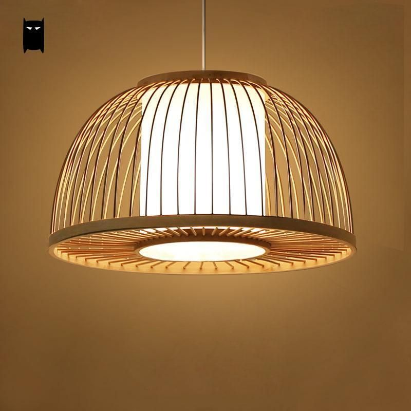 Round Bamboo Wicker Rattan Shade Cover Pendant Light Fixture Nordic Asian Lamp Soleil