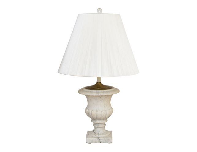 White Marble Lamp with White Fringe Shade | The Local Vault