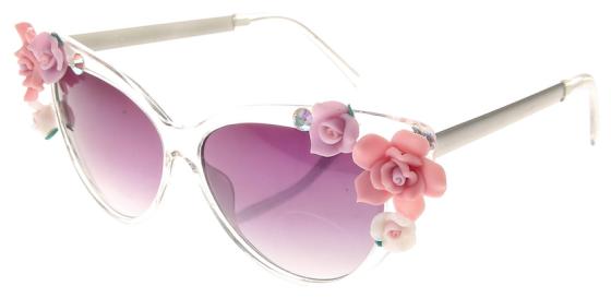 962453e857ea3 Lunettes de soleil transparente à fleurs roses et strass