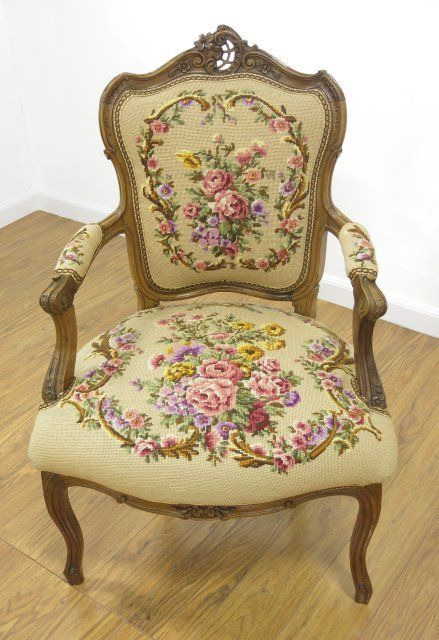 Pair Of French Carved Walnut Needlepoint Armchairs On LiveAuctioneers.  Classic FurnitureAntique ...