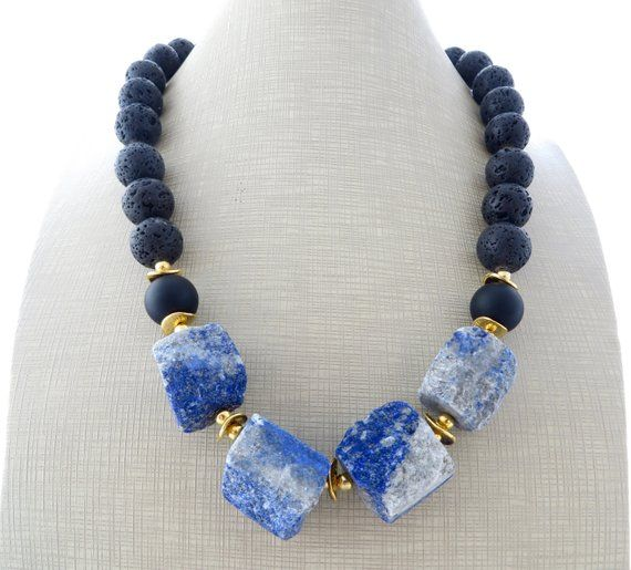 Photo of Lapis lazuli necklace, black lava necklace, statement necklace, blue chunky necklace, bold choker, raw stone jewelry, modern jewelry, bijoux