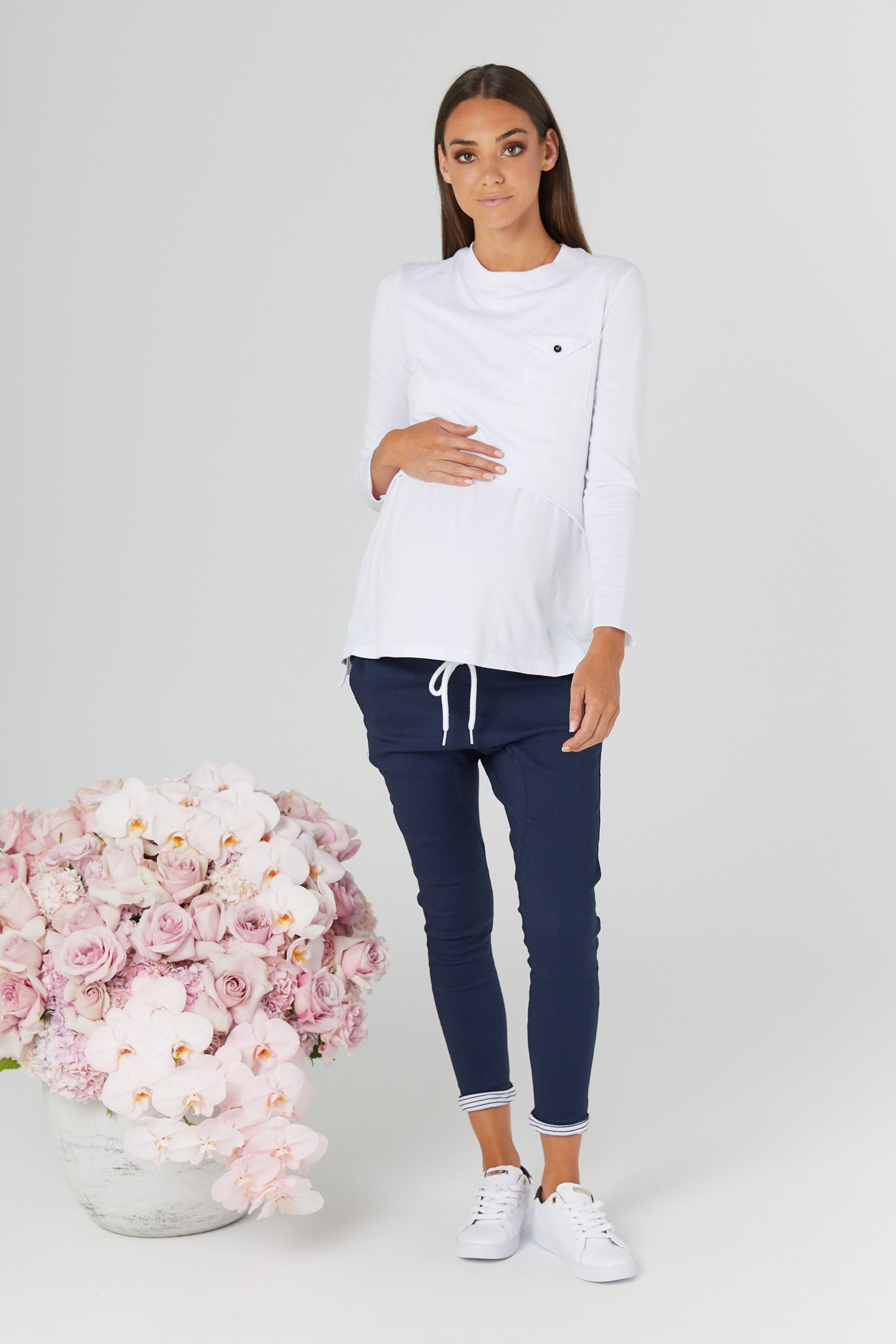 22f8e70cb8606 Our Maternity & Breast Feeding friendly Brooklyn Envelope Tee ( White )
