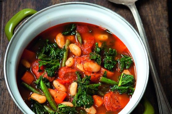 This tasty soup by The Hairy Dieters is just 157 calories per portion.Add a tablespoon of half-fat crème fraiche and a sprinkling of paprika for a guilt-free garnish that adds only 25 calories.
