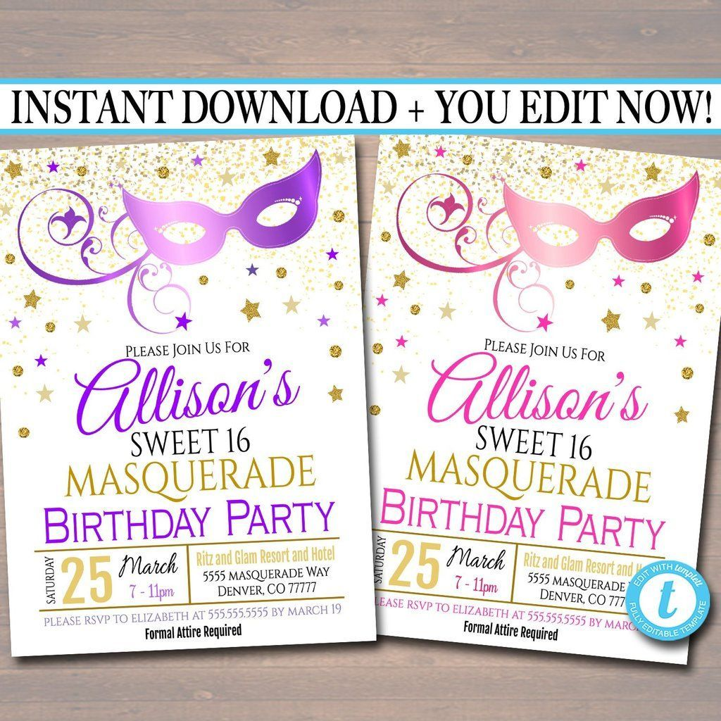 EDITABLE Masquerade 16th Birthday Invitation Printable Party Invite Glam Birthday Digital Invite Vip Mask Movie Star Party INSTANT DOWNLOAD