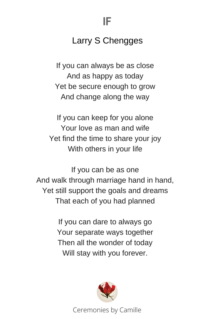 More Unique And Beautiful Wedding Readings For Your Ceremony Adelaide Marriage Celebrant Camille Abbott Wedding Readings Wedding Ceremony Readings Wedding Poems
