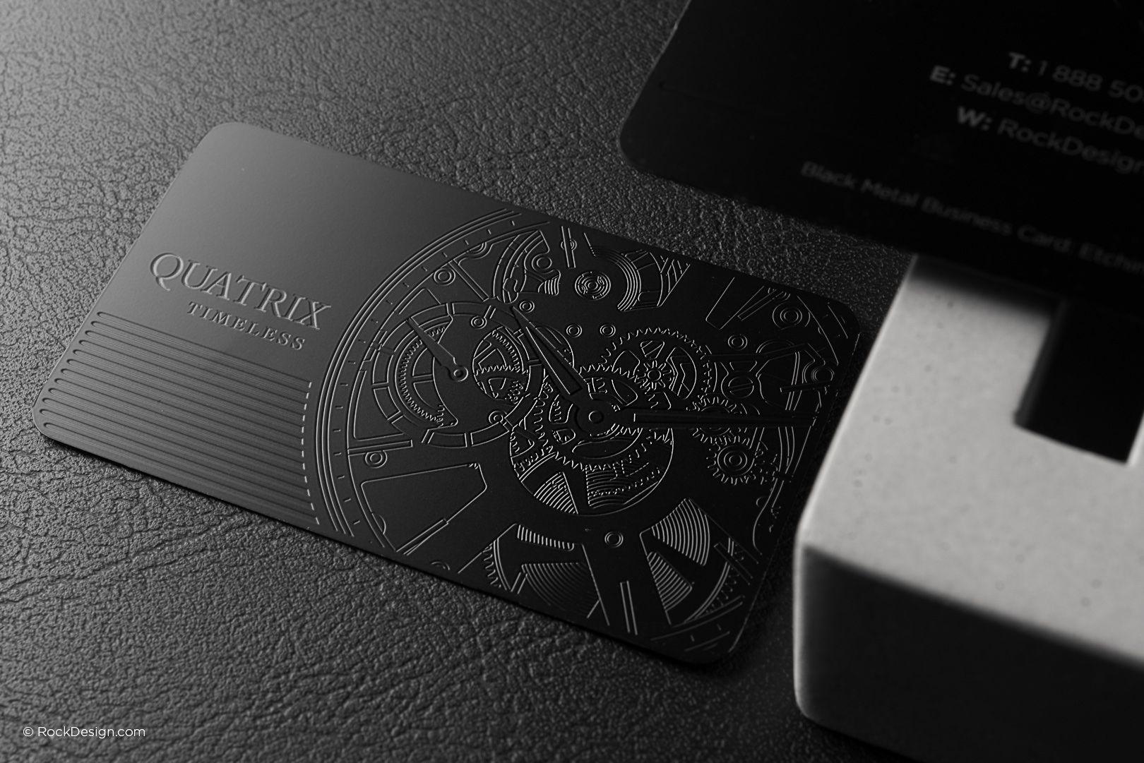 Elegant professional black metal business card - Quatrix ...