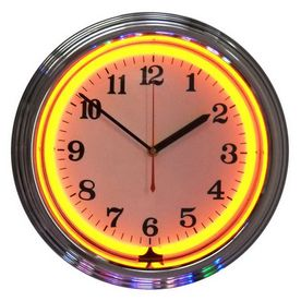 Neonetics Standard Arabic Numeral Orange Neon Chrome Wall Clock With Images Neon Clock Clock Chrome Wall Clock