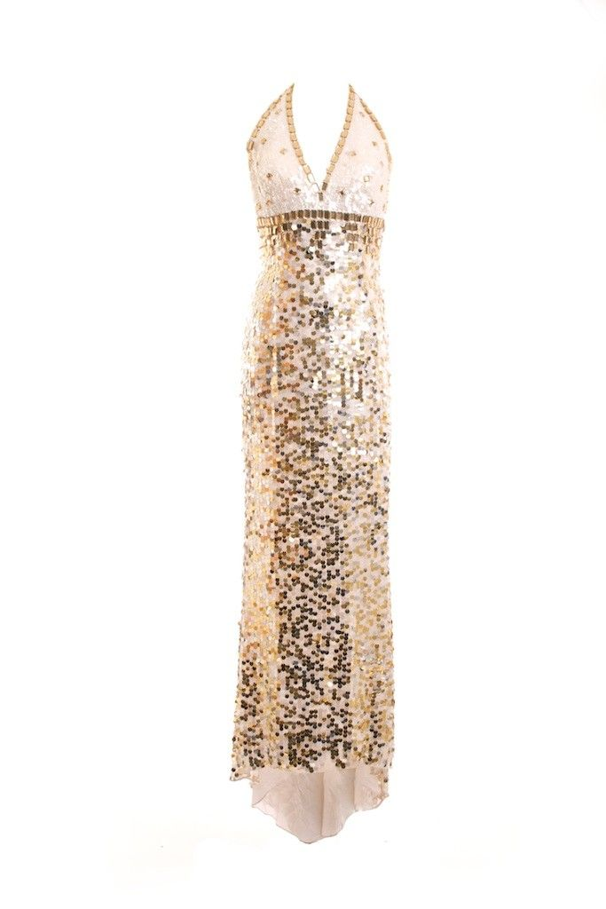 Jovani Gold and White Sequin Formal Dress