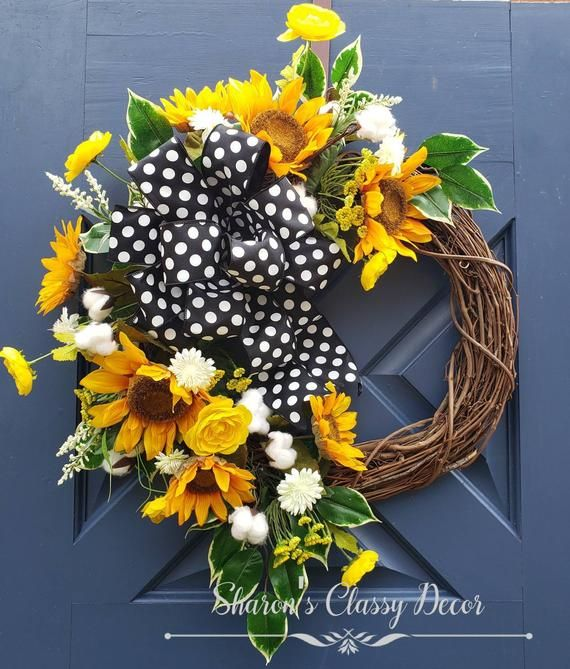 Photo of Sunflower wreath, summer wreath, summer decor, summer decor, front door autumn wreath,