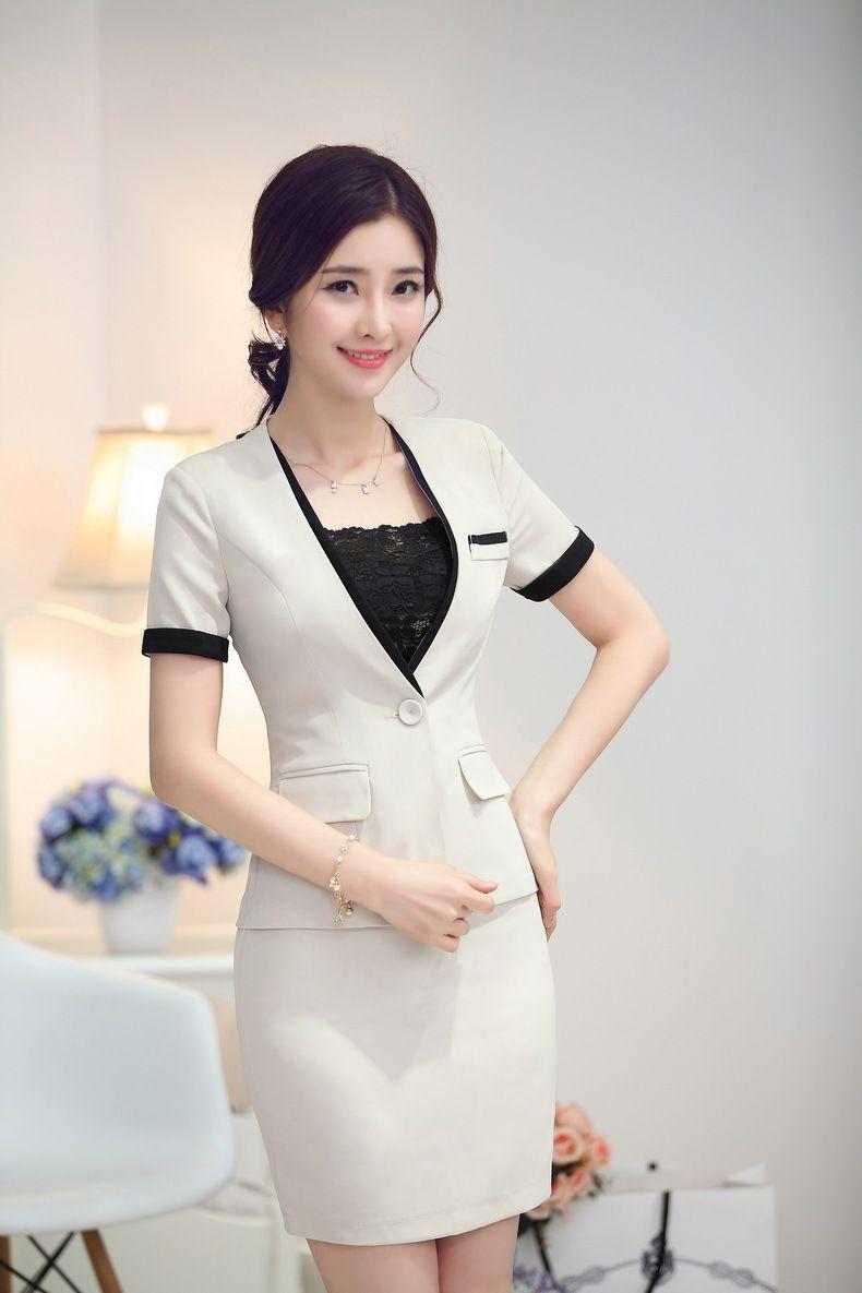 Fashion Patchwork Blazer Women Skirt Suits Jacket Sets Summer Slim