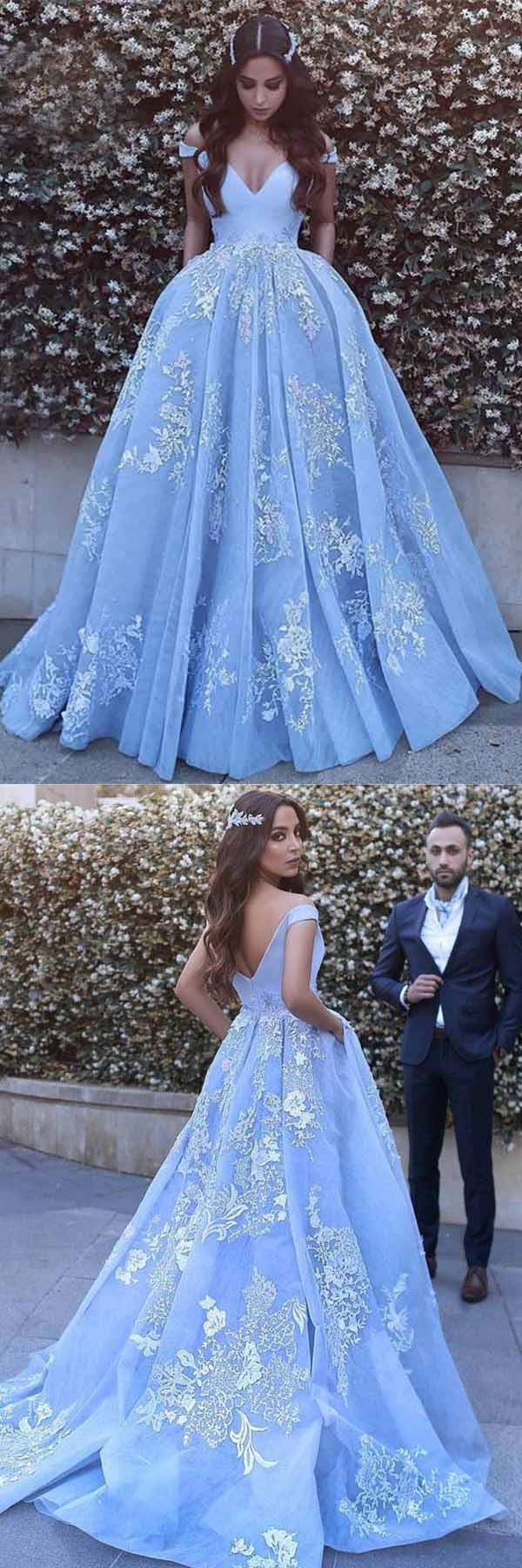 Ball gown offtheshoulder sweep train blue tulle prom dress pg
