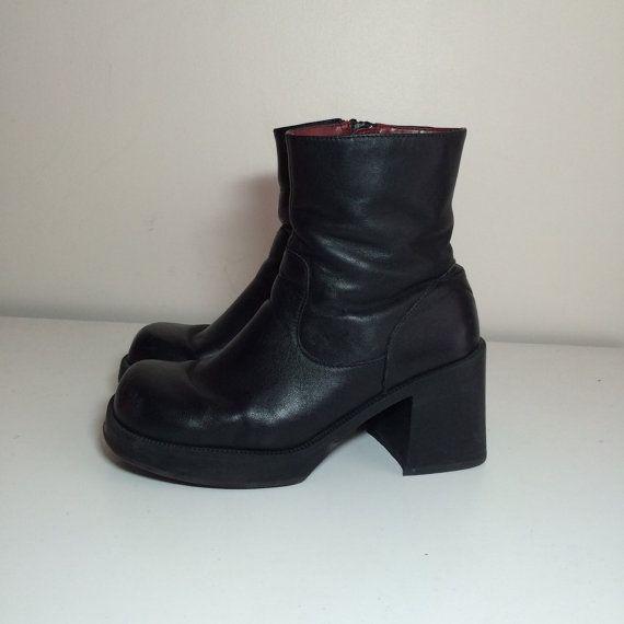 90s black leather platform boots size 8