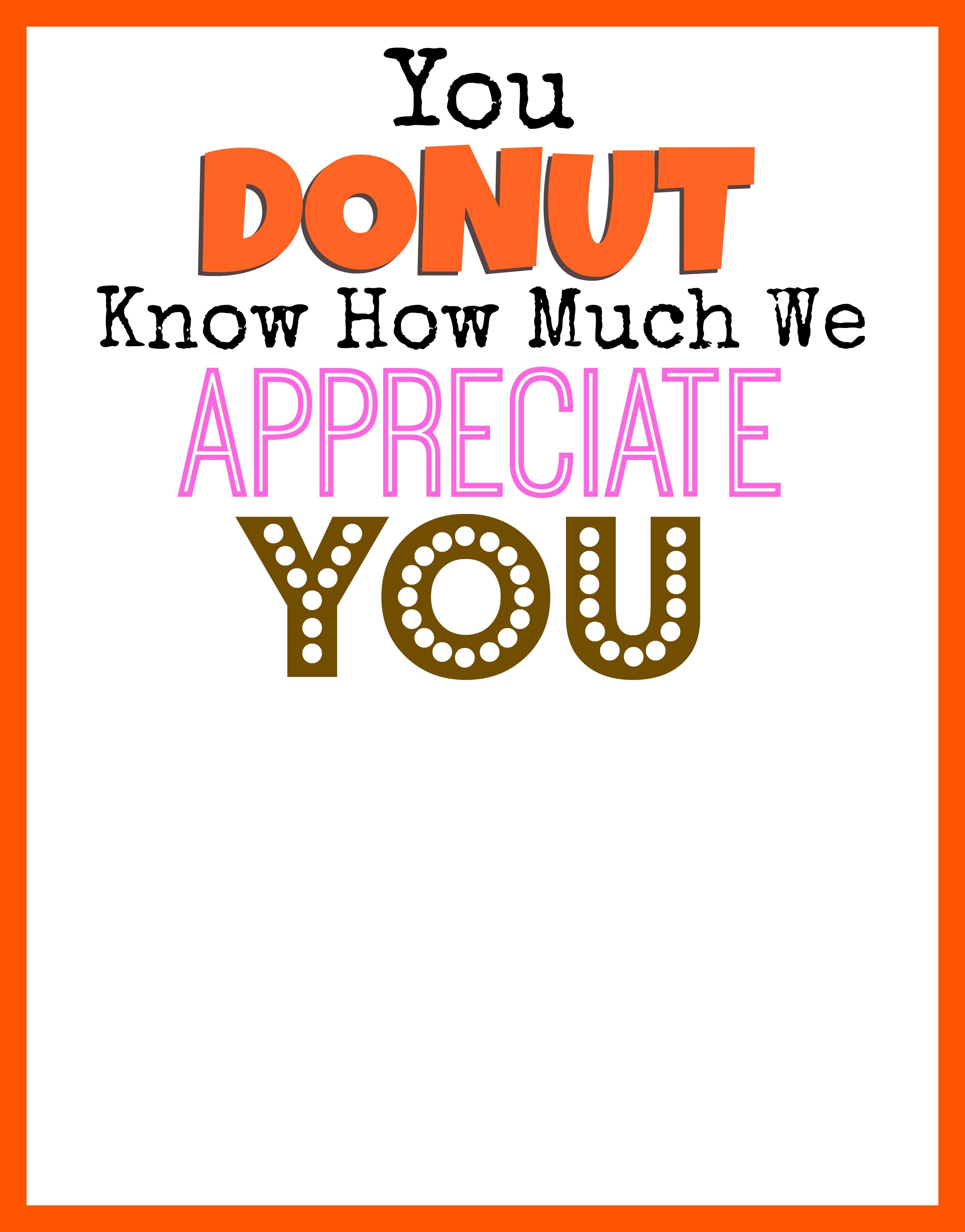 Dunkin Donuts Thank You Printable Office Teacher Gifts Teacher