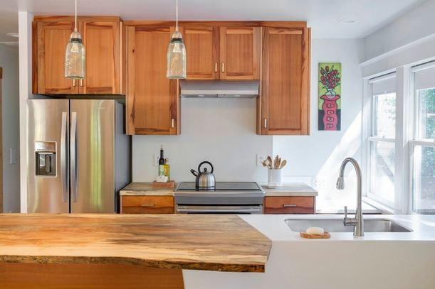 Merveilleux Reclaimed Slab Countertops And Kitchen Cabinetry Pacific Madrone Custom  Cabinets, Portland Salvage Beech Tree Was