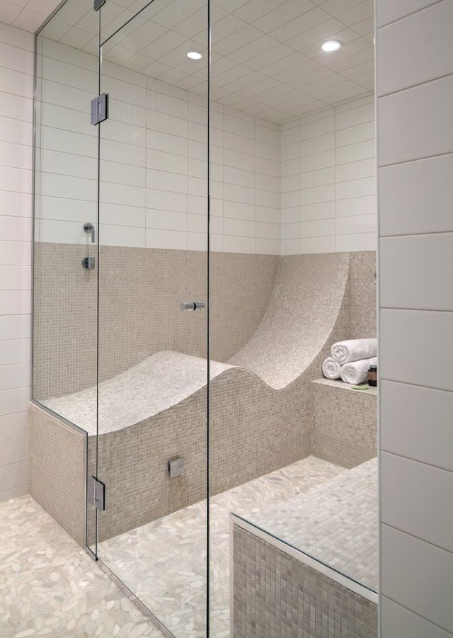 steam shower too large but like the seating | Bathrooms | Pinterest ...