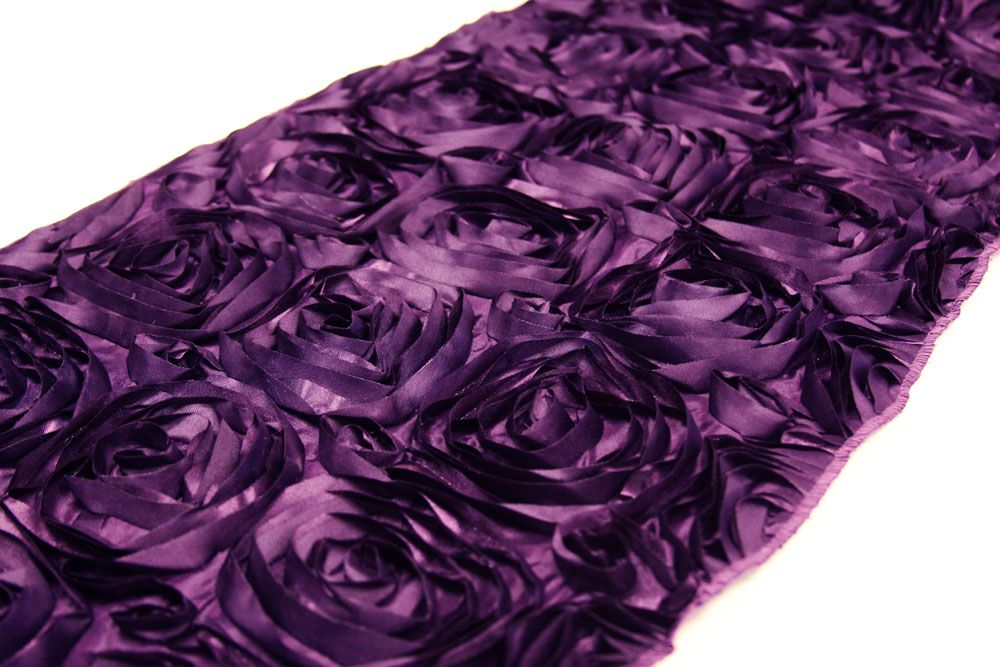 Wedding Rosette SATIN Table Runner   Plum