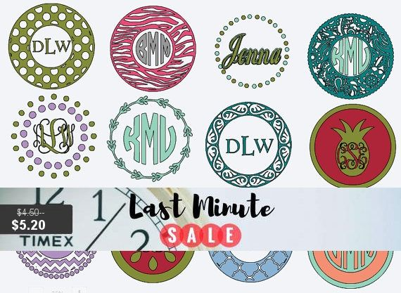 Monogram circle decal vinyl decals personalized sticker mug decal custom skins