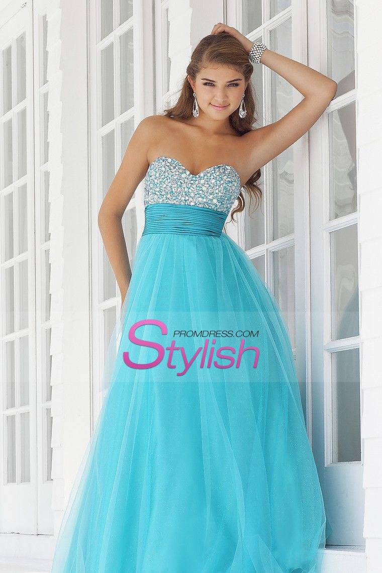 Traditional Prom Dresses A Line Sweetheart Floor Length Tulle With ...