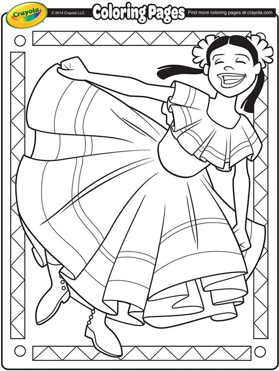 Cinco De Mayo Dancer On Crayola Com Dance Coloring Pages Flag