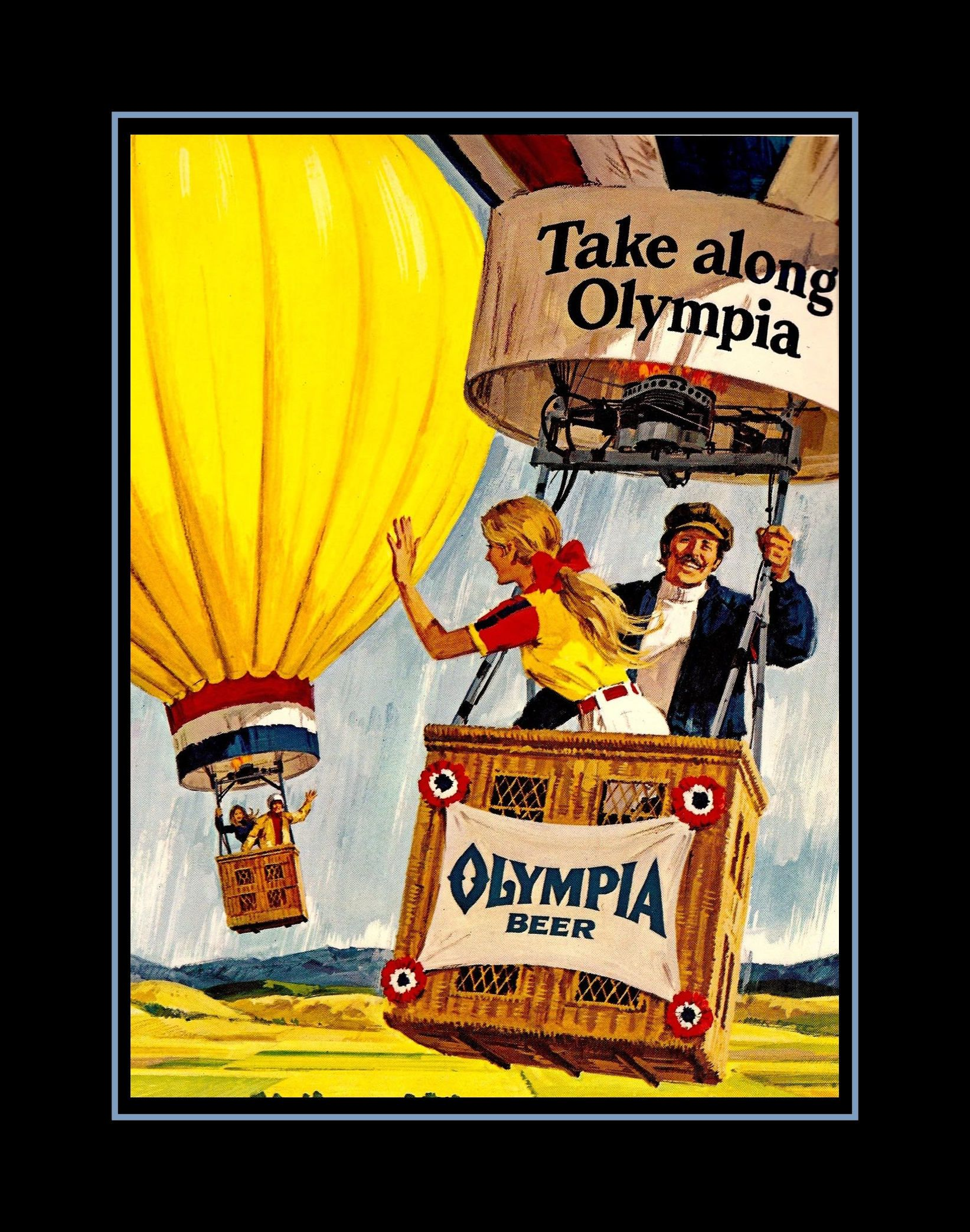 Vintage hot air balloon photo poster olympia beer basket gift