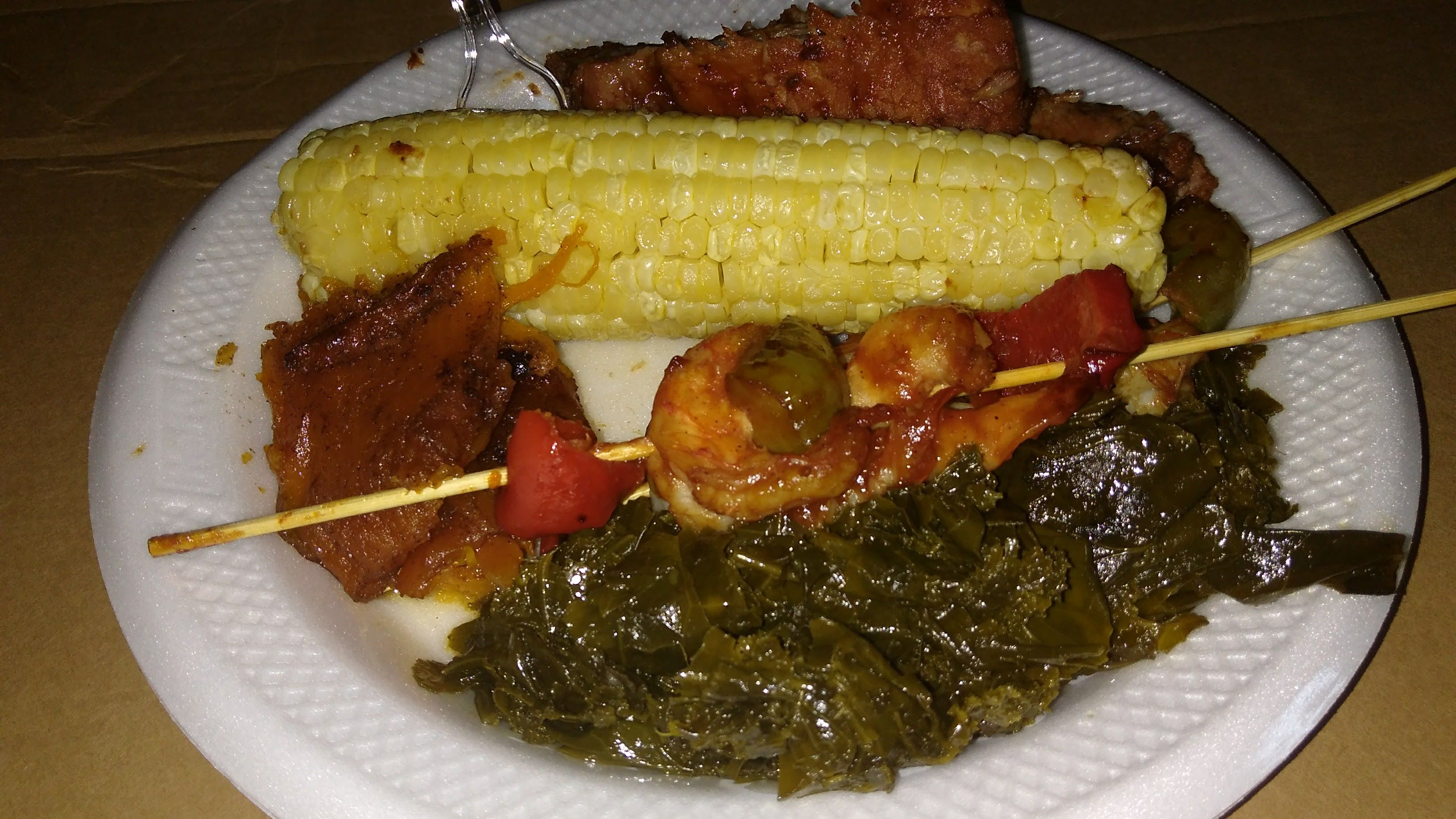 #ShrimpVegetable #shishkebab with #collardgreens #yams and #corn - https://drewrynewsnetwork.com/forum/affiliate-marketing/content-marketing-SEO