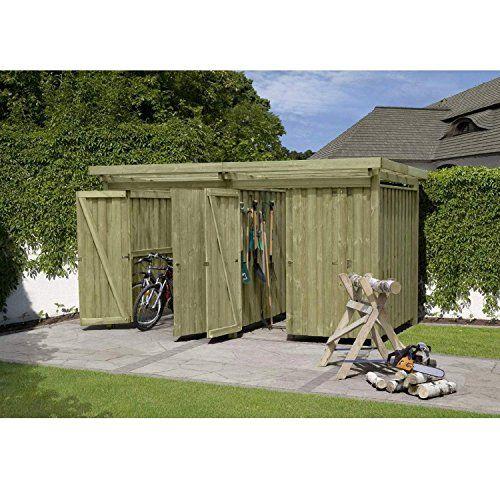 Gartenpirat Gerätehaus Holz mit Flachdach Typ4 387 x 224