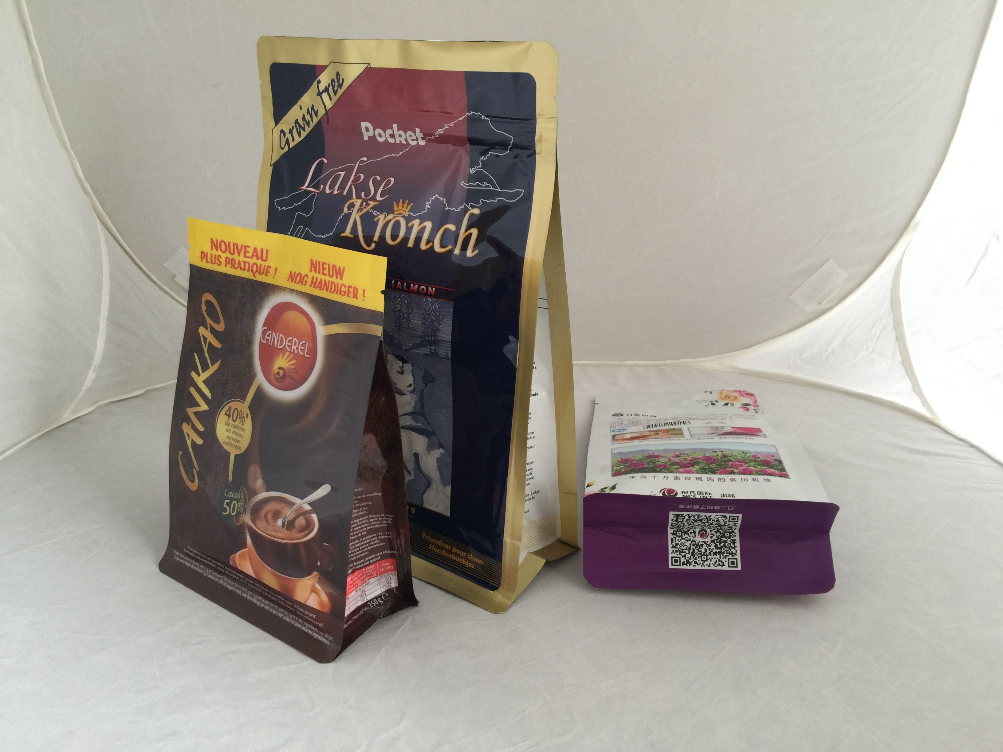 Square Bottom Aluminum Foil Plastic Coffee Bean Packing Bag With ZipLock