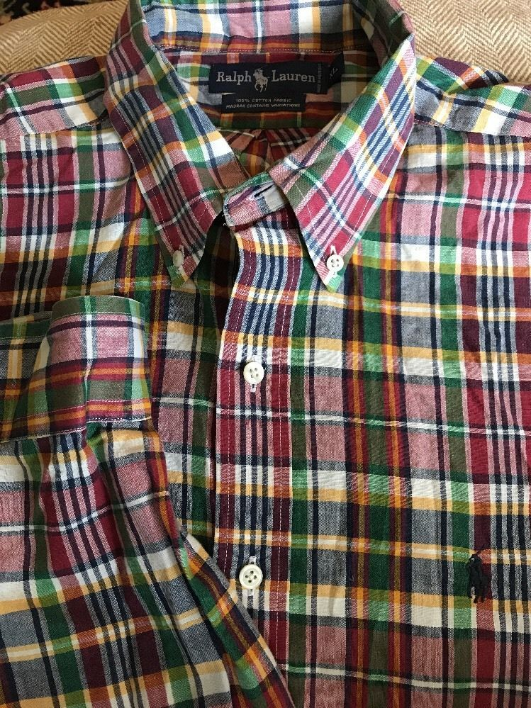 0aee82ed Mens Ralph Lauren Multi-Color Plaid X-Large Madras Shirt Long Sleeve ...
