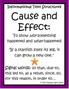 one example of cause and effect signal words is