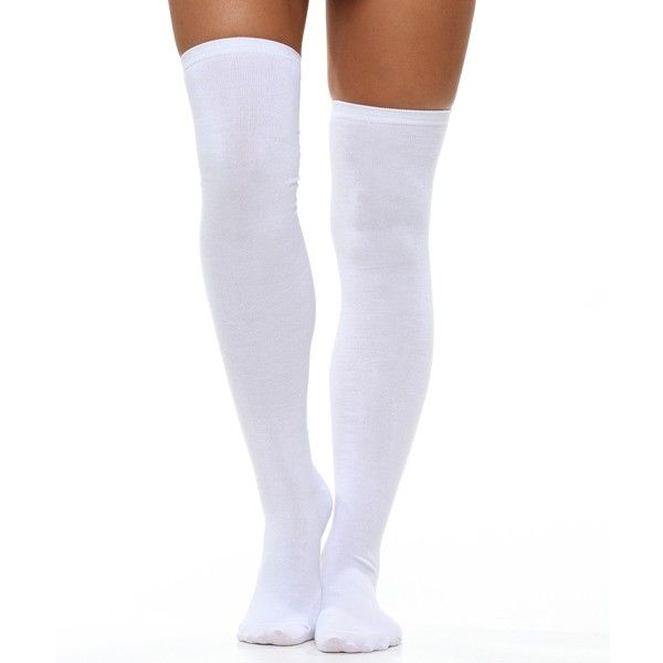 a7e1e6f57 White Solid Thigh High Socks ( 8.90) ❤ liked on Polyvore featuring  intimates