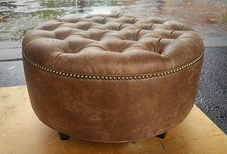Amazoncom 30 Distressed Vegan Leather Tufted Coffee Table