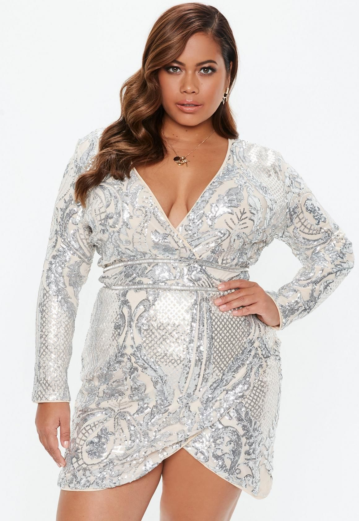 Plus Size Silver Sequin Wrap Mini Dress in 2019 | Bodycon ...