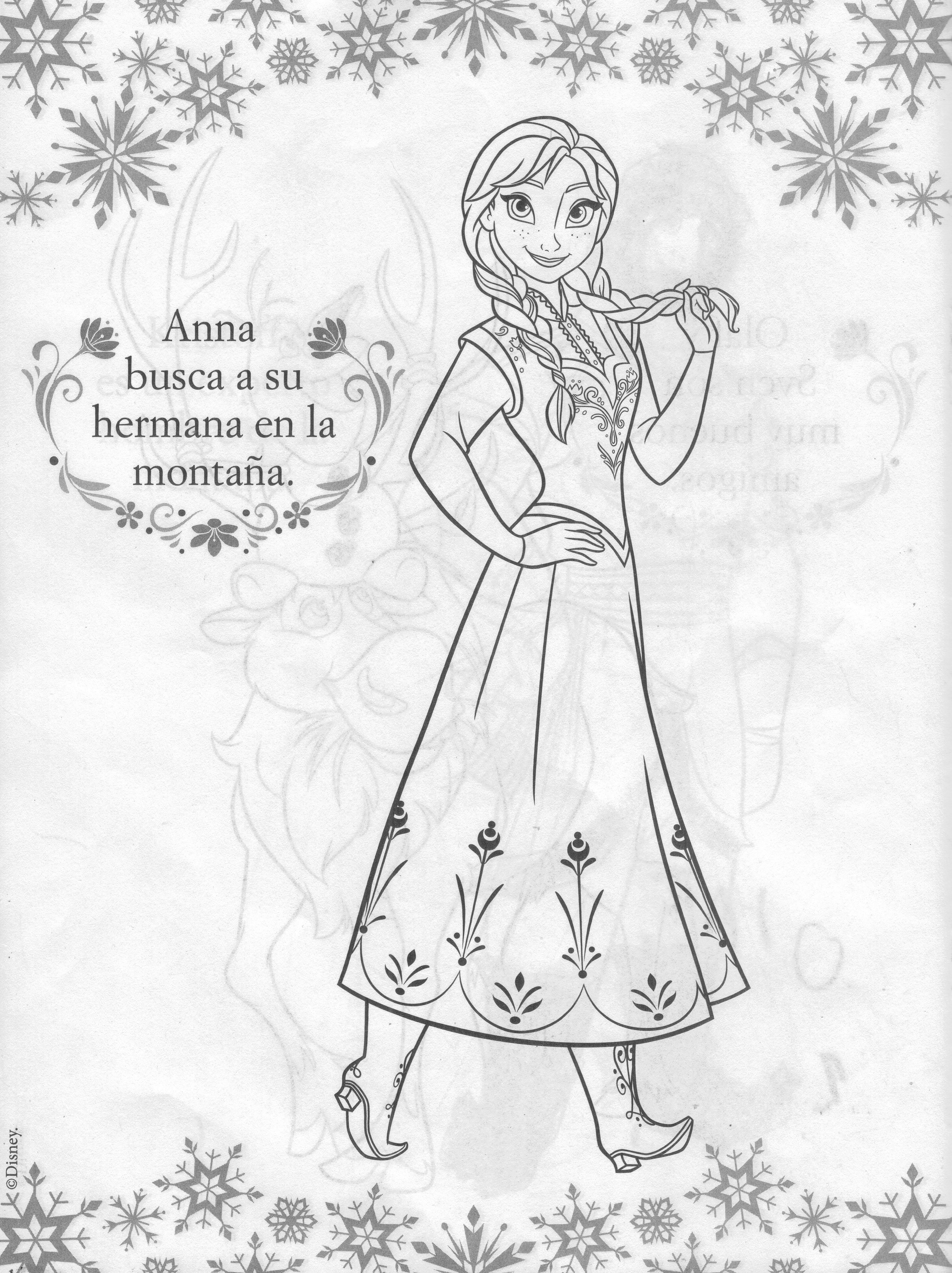 Ana de frozen un dibujo para colorear a disney frozen princess