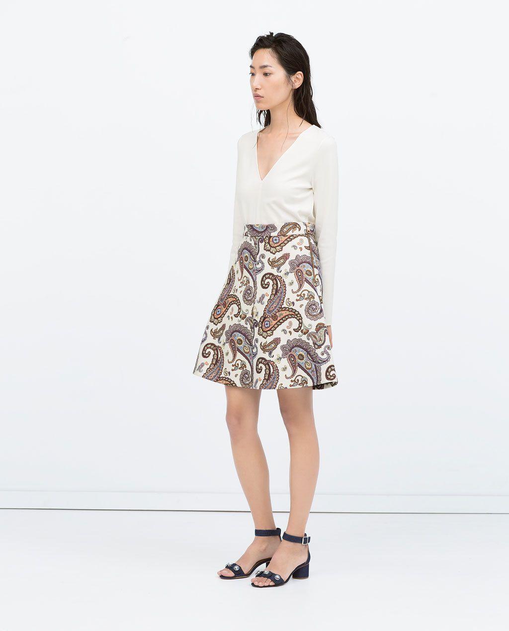 FLARED PAISLEY SKIRT-Skirts-WOMAN | ZARA United States | Need to ...