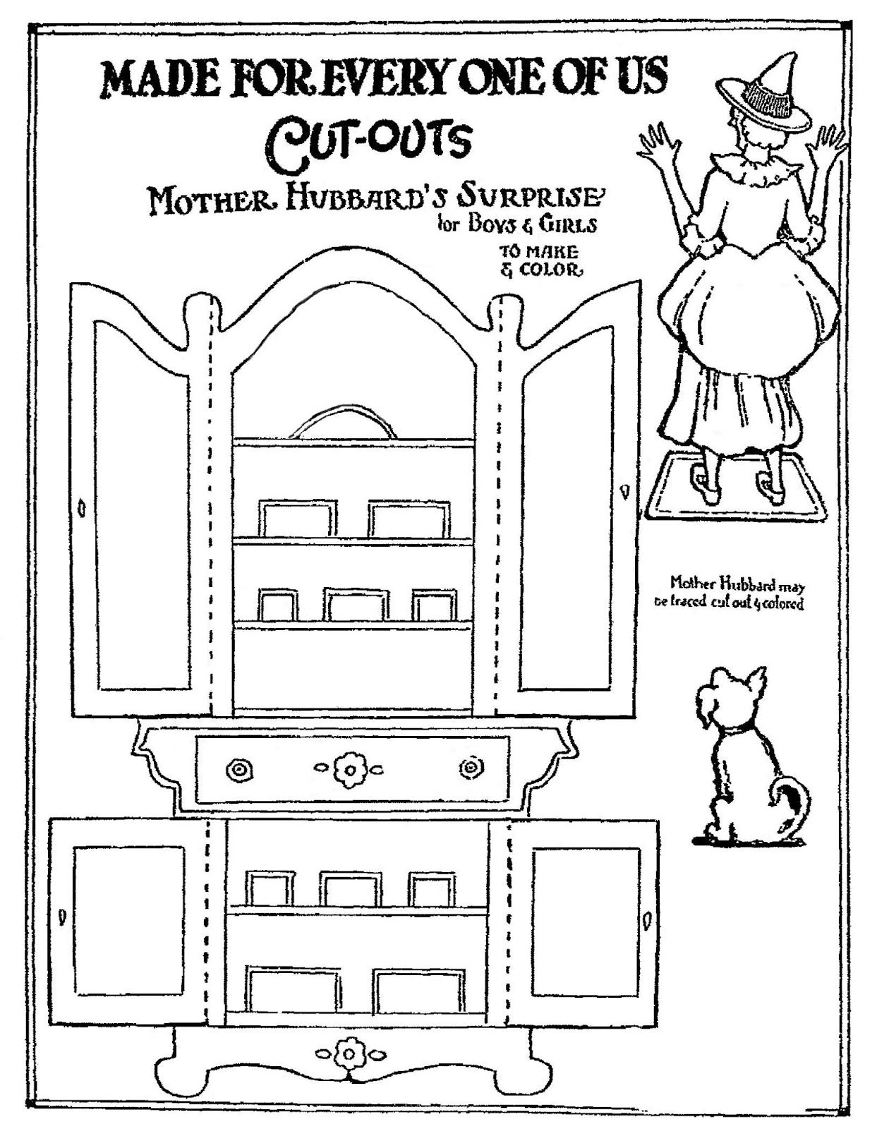 Mostly Paper Dolls Too June 2014 Old Mother Hubbard Kids Nursery Rhymes Paper Dolls