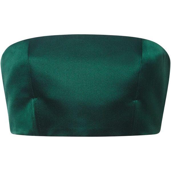 Satin Green Strapless Top