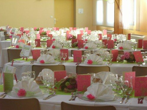 decoration table mariage rose et vert