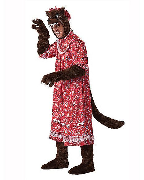 MENS BIG BAD WOLF IN GRANNIES CLOTHING HALLOWEEN FANCY DRESS