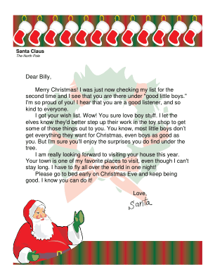 Letter From Santa To A Boy Christmas Lettering Christmas Letter From Santa Santa Letter Printable