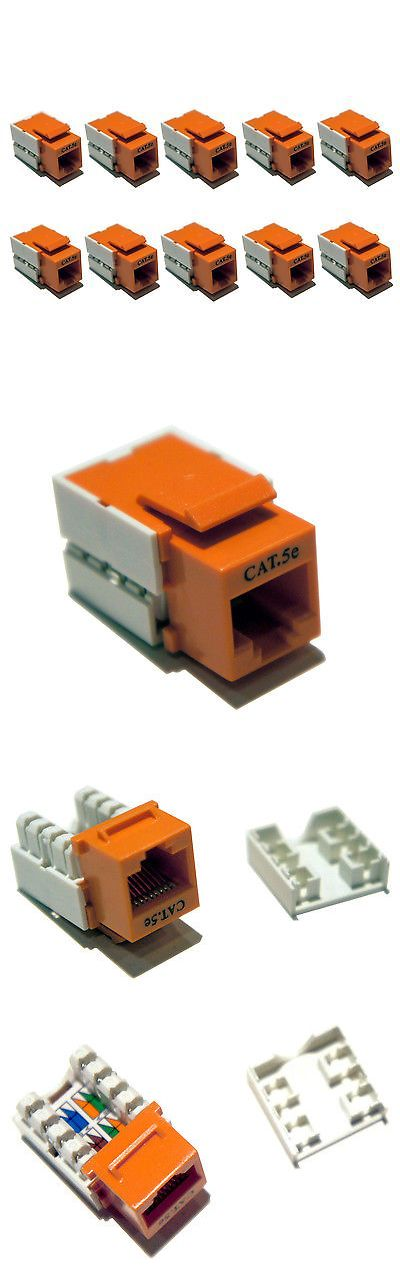 Plugs Jacks And Wall Plates 67279 Lot Of 10 Cat 5e Cat5e Orange Keystone Data Jack 568b 568a Internet Ethernet Plates On Wall Wall Jack Decorative Boxes