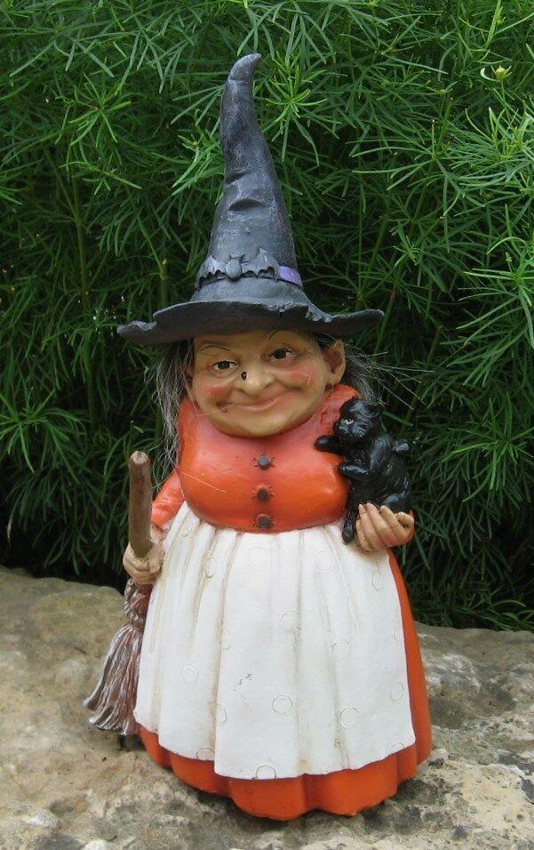 Folk Art WITCH Sculpture Figurine*Black Cat*Broom*Bat Hat