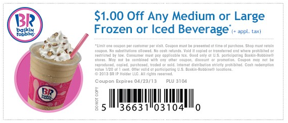 Pinned April 23rd Shave a buck off your frozen or iced beverage at