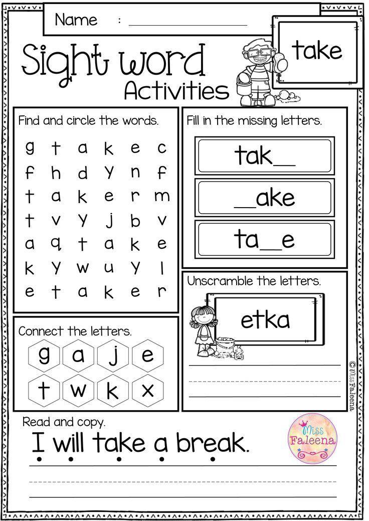 Printable Worksheets kindergarten grade worksheets : Free Sight Word Activities is perfect for preschool, kindergarten ...
