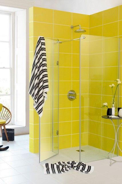 We Love The Colour Combination Of Lime And Monochrome Yellow Bathroom Tiles Trendy Bathroom Tiles Yellow Bathrooms