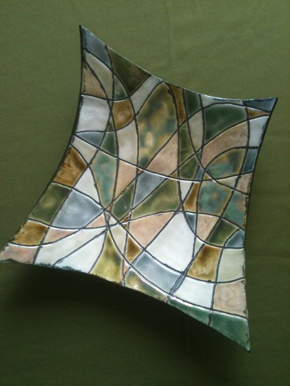 Cuerda Seca: Stained Glass Inspired Porcelain Shallow Bowl by JillyBeanPottery