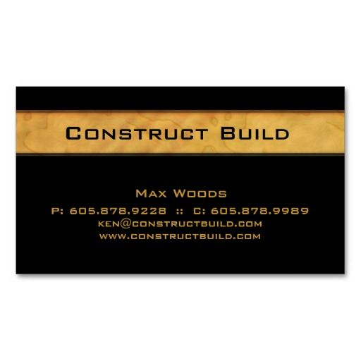 construction contractor business card wood grain architects