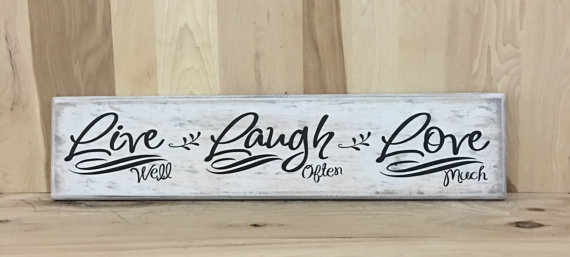 Live Laugh Love Wood Sign Rustic Home Decor Custom Wooden Uplifting