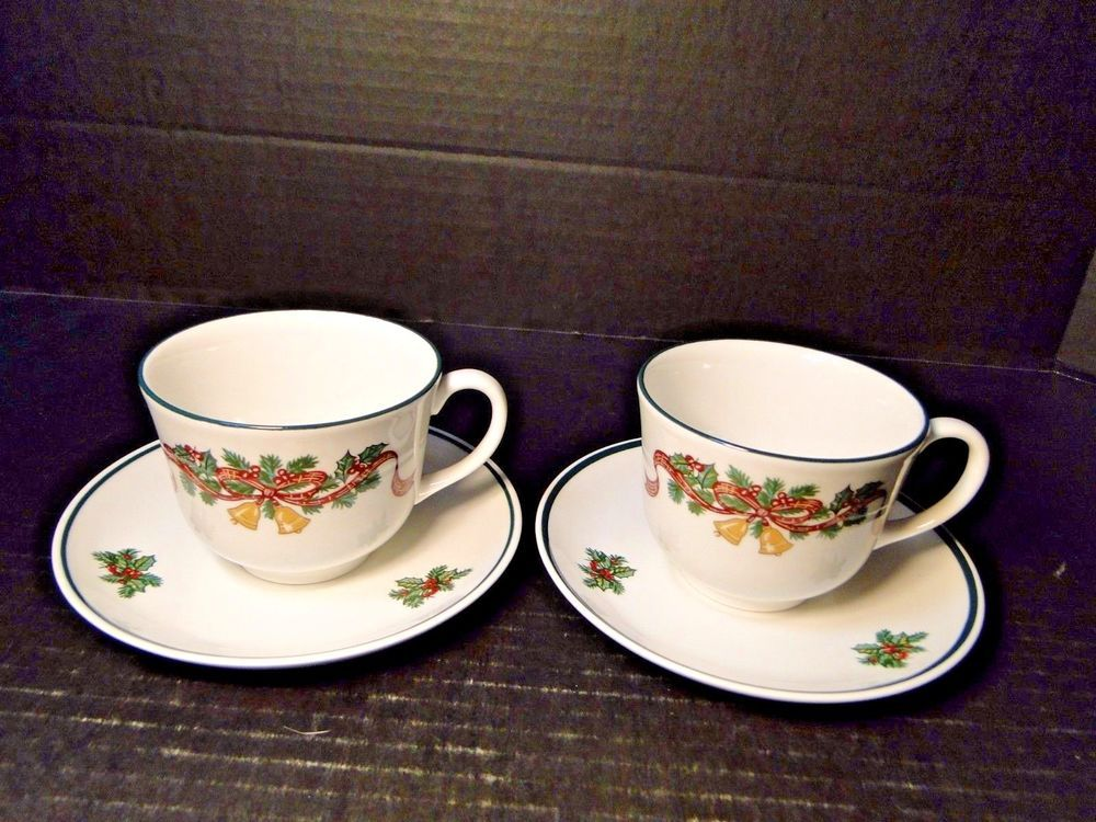 Johnson Brothers Victorian Christmas England Tea Cup Saucer Sets TWO ...