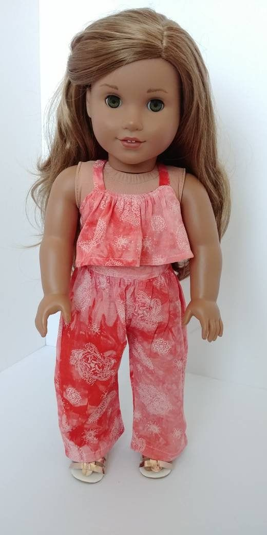 18 inch doll clothing. 18 inch doll clothes. Fits like American girl Doll clothes. Coral romper #americandolls