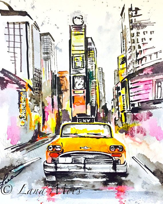 This New York Taxi Watercolor Captures An Always Colorful And